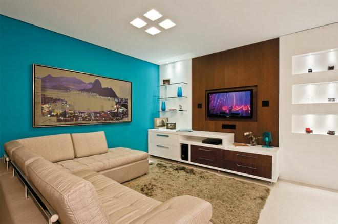 moderne-wohnwand-wohnzimmer -gestalten-einrichtungsideen-wandfarbe-türkis, Wohnzimmer dekoo