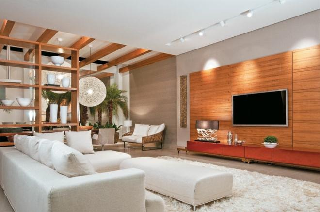 Moderne Wohnwand Wohnzimmer Sofa Weiss Einrichtungsideen Teppichboden Holzwand