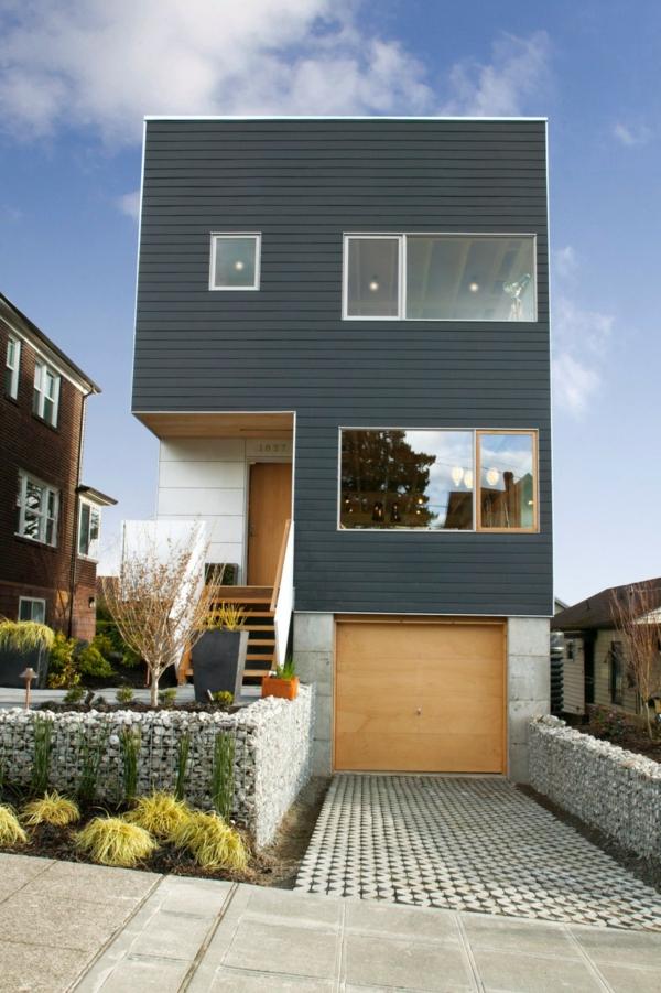 modernes graues haus inspirierende architektur