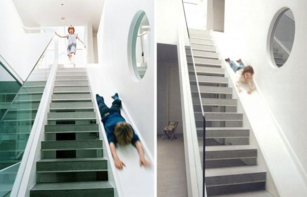 modernes treppenhaus bauen mit rutsche kreative designer ideen