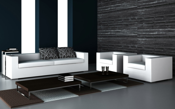 modernes wohnzimmer mit schwarze tapeten