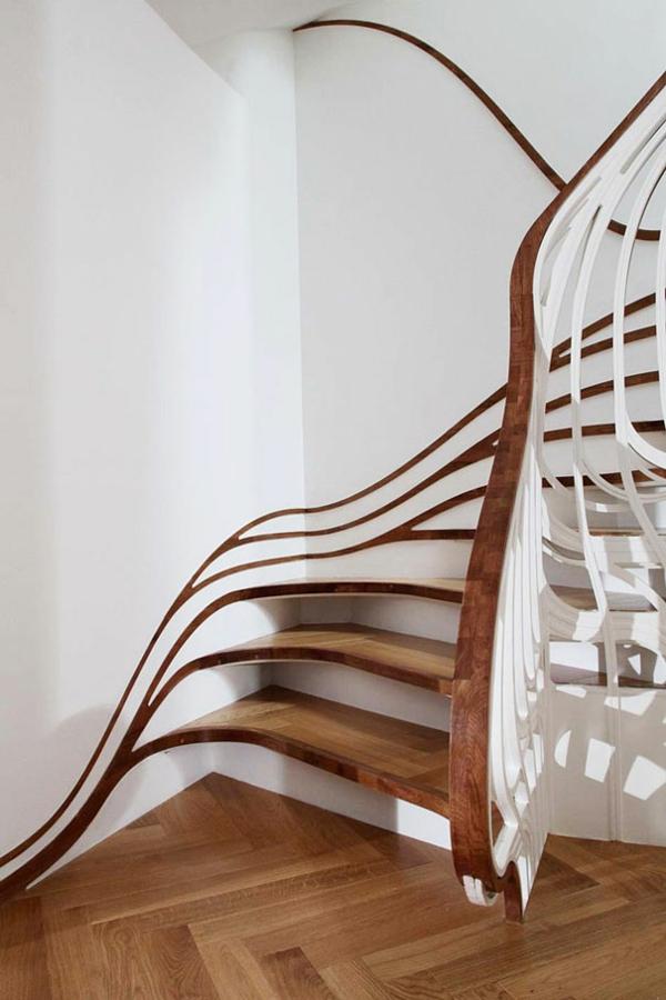 nachhaltiges design treppenhaus holz geländer luftige struktur
