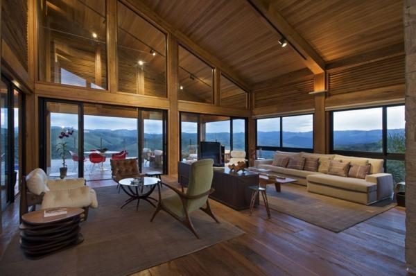panoramafenster dachschräge elegantes interier
