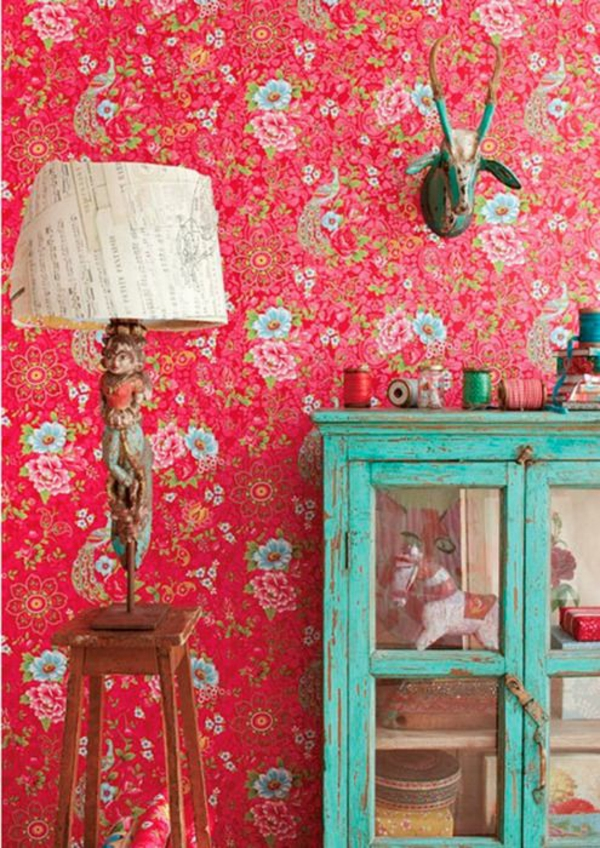 Rote Tapete Mit Blumenmuster : Red and Turquoise Living Room