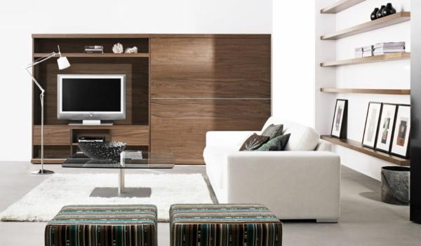 schöne dekoideen weißes sofa holzmöbel