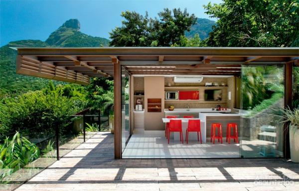 schöne wohnideen küche außenbereich