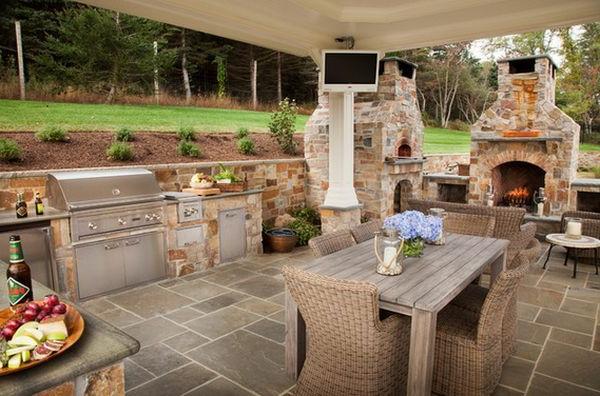 schöne wohnideen küche im innenhof