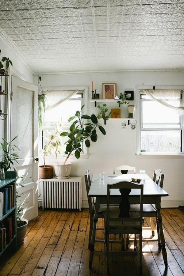 schöne wohnideen metallic decke küche