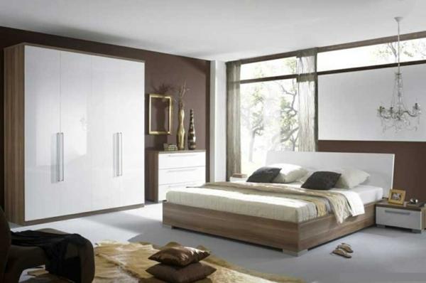 schlafzimmer wandfarbe braun erdige farben holz natürliche materialien