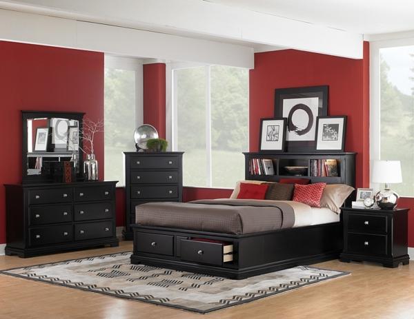 Schlafzimmer Ideen Wandgestaltung Dunkelrot Homeautodesign Com