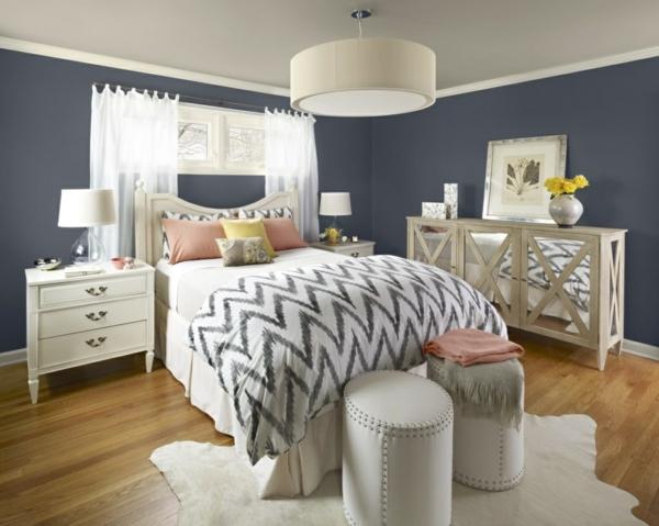 Schlafzimmer Wandfarbe Auswählen Und Ein Modernes Ambiente Gestalten Blaue Wandfarbe Graue Mbel