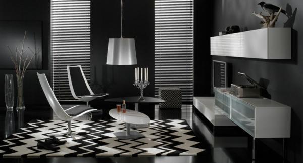schwarze tapete schafft eine künstlerische wohnlandschaft in ihrem ... - Raumgestaltung Schwarz Weis Wohnzimmer
