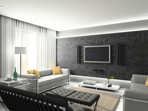 schwarze tapete fürs wohnzimmer