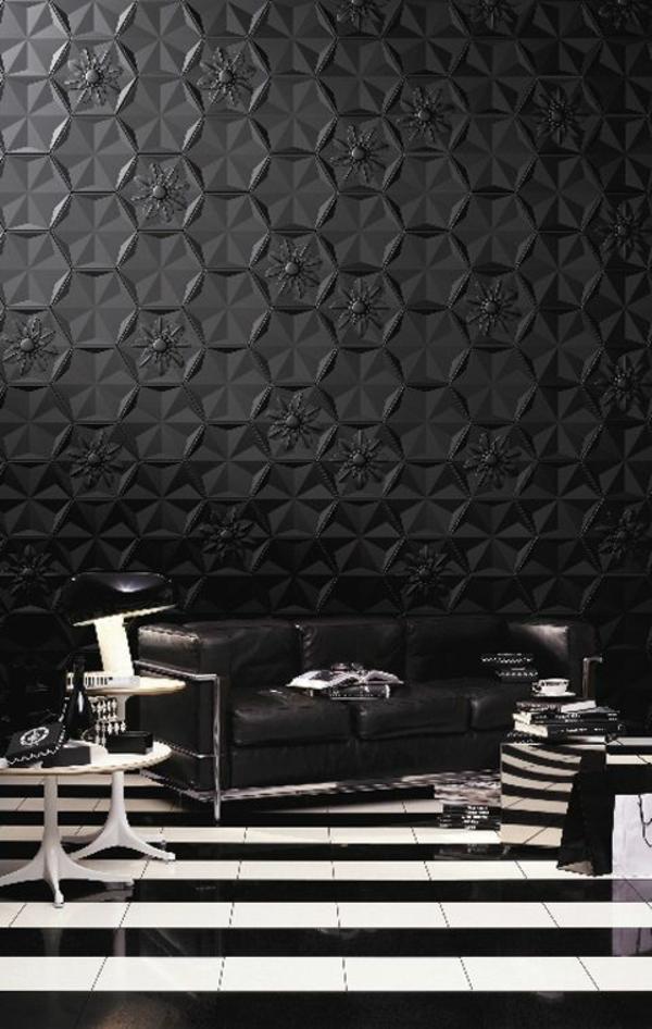 schwarze tapete schafft eine k nstlerische wohnlandschaft. Black Bedroom Furniture Sets. Home Design Ideas
