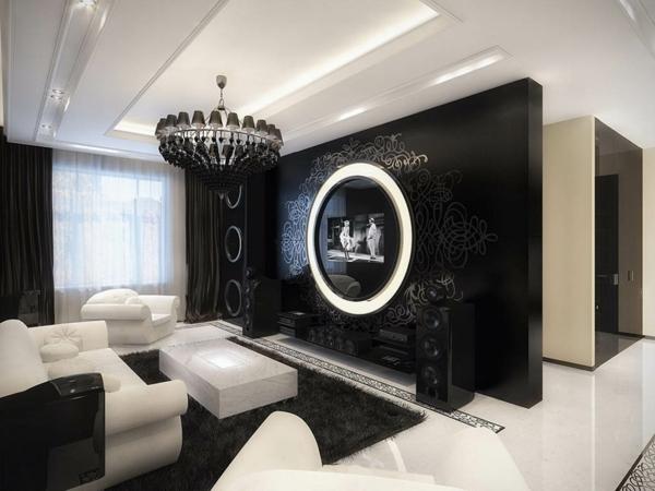 schwarze tapetenwand für fernsehr
