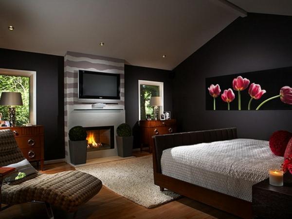 Schwarzes Schlafzimmer Ambiente Die Schwarze Tapete Schafft Eine  Künstlerische Wohnlandschaft In Ihrem Haus | Einrichtungsideen ...