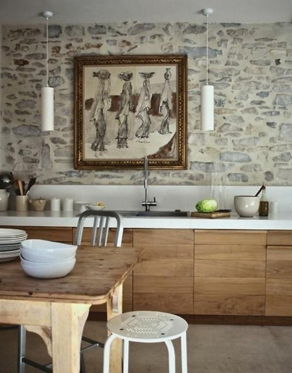 stein tapeten für die küche