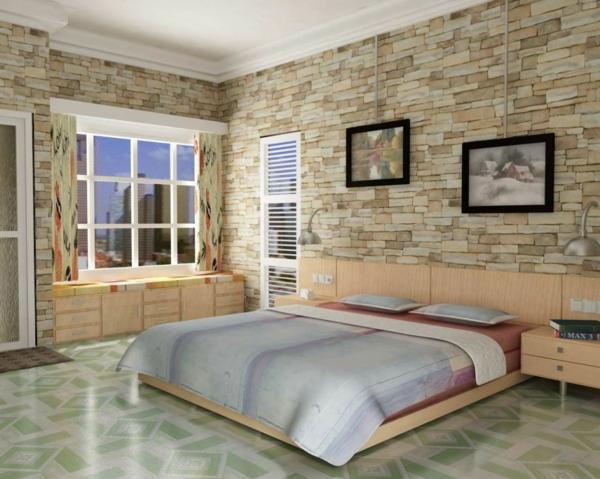 stein tapeten fürs schlafzimmer