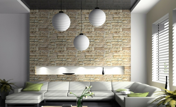 stein tapeten fürs wohnzimmer