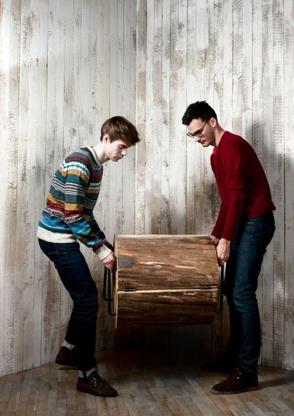 stuhl eichenholz recycelt balken textur ausstellen