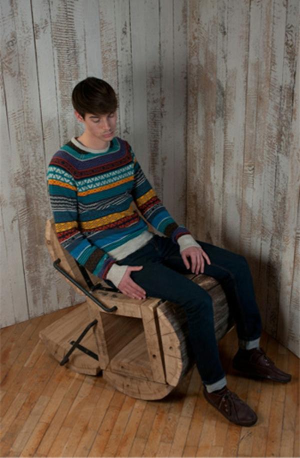 stuhl eichenholz recycelt balken textur schaukelstuhl
