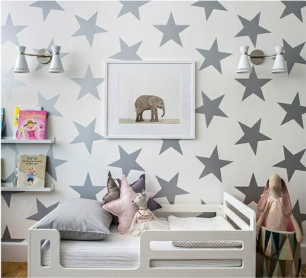 babyzimmer tapeten gestalten wandgestaltung tapetenmuster sterne grau