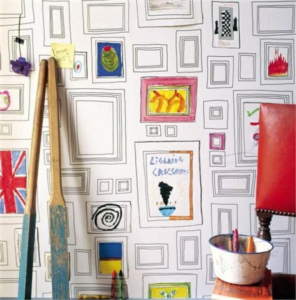 tapeten-babyzimmer kreative wandgestaltung tapetenmuster bilderrahmen ...