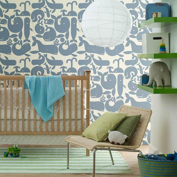 babyzimmer tapeten möbel wandgestaltung muster blau wassertiere