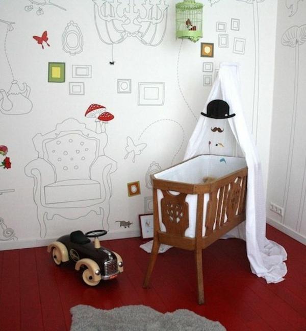 tapeten babyzimmer wandgestaltung tapetenmuster bilder bilderrahmen konturen