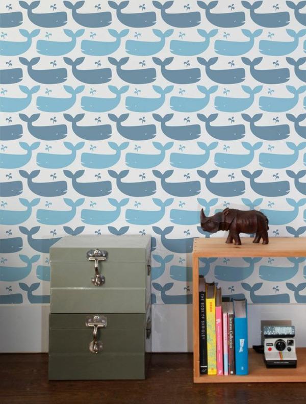 babyzimmer tapeten wandgestaltung tapetenmuster blaue walfischen