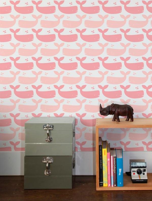 babyzimmer tapeten wandgestaltung tapetenmuster rosa walfischen