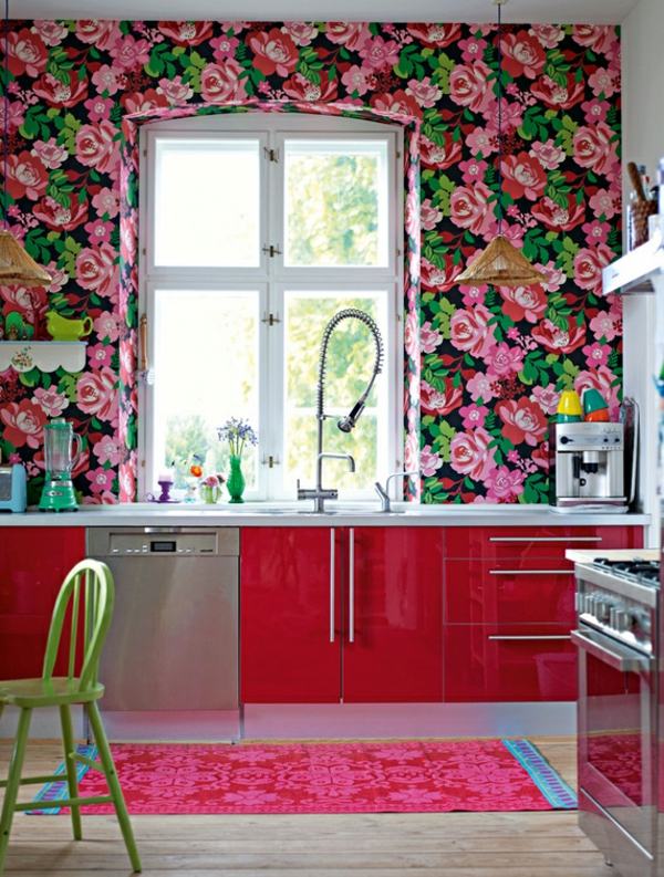 stoffe und tapeten mit blumenmuster tolle innenausstattung ideen. Black Bedroom Furniture Sets. Home Design Ideas