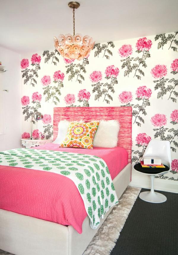 Schlafzimmer Tapeten Gr?n : tapeten mit blumenmuster schlafzimmer interieur wei? rosa gr?n grau