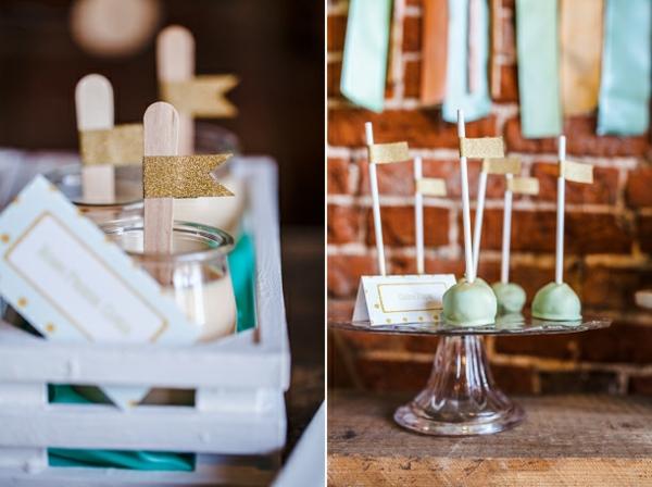 tischdeko ideen dessert buffet pastellfarbige wanddeko