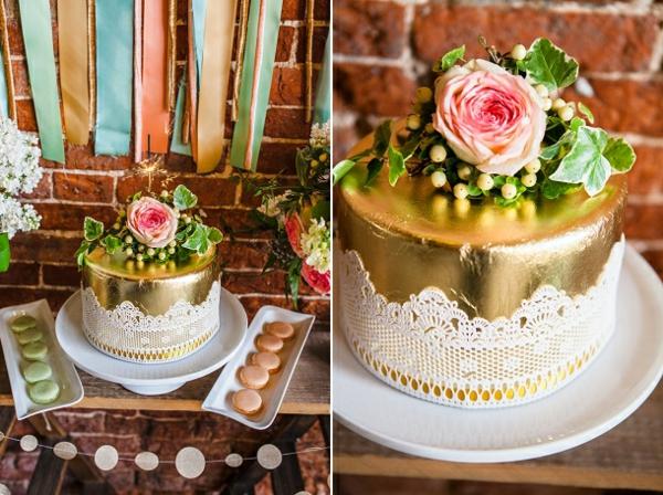 tischdeko ideen rustikaler stil dessert buffet torte gold spitze macarons