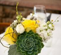 Tischdekoration in gelb-grünen Farben für eine festliche Stimmung