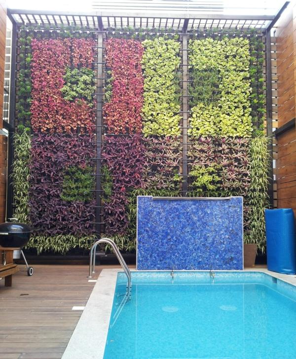 vertikaler garten neben dem schwimmbad bringt mehr gr n in. Black Bedroom Furniture Sets. Home Design Ideas