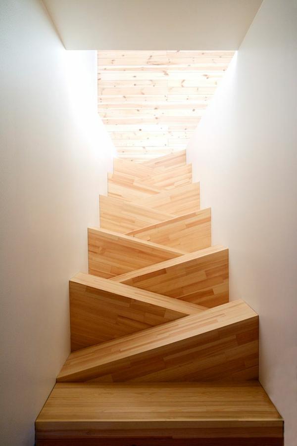 treppenhaus gestalten holz trittstufen dreieckig