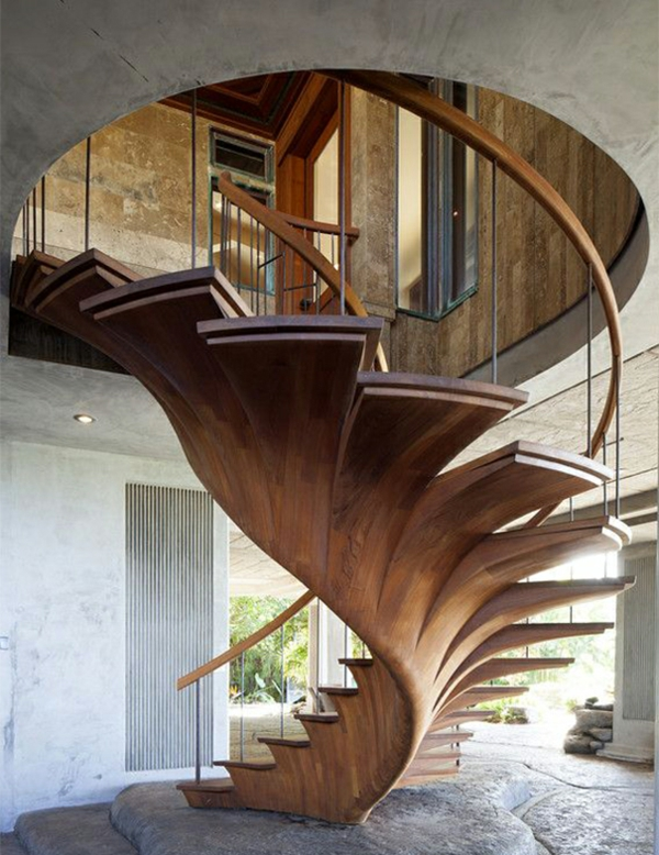 treppenhaus gestalten nachhaltiges design holz wandeltreppe