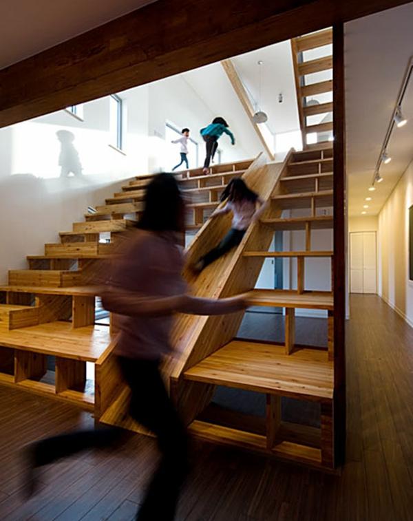 treppenhaus gestalten nachhaltiges design kinderrutsche spielplatz