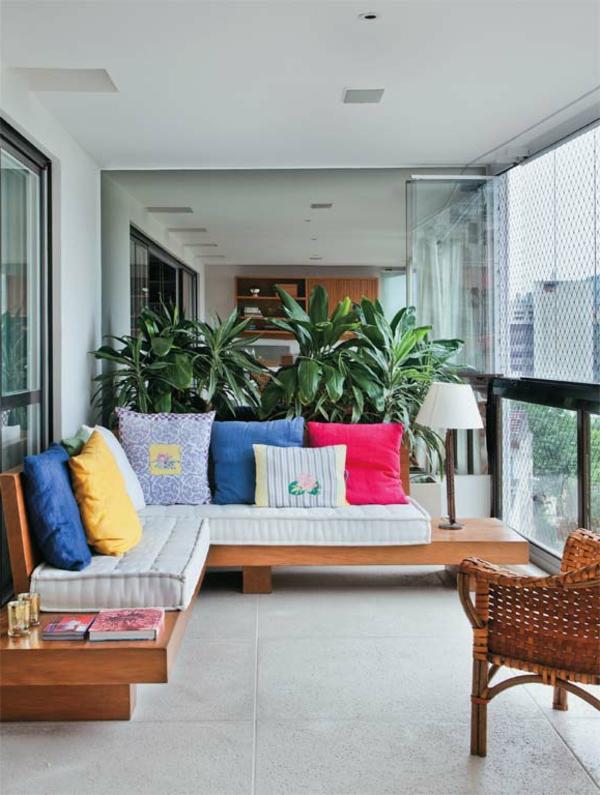 einrichtungsideen veranda ecksofa farbige dekokissen