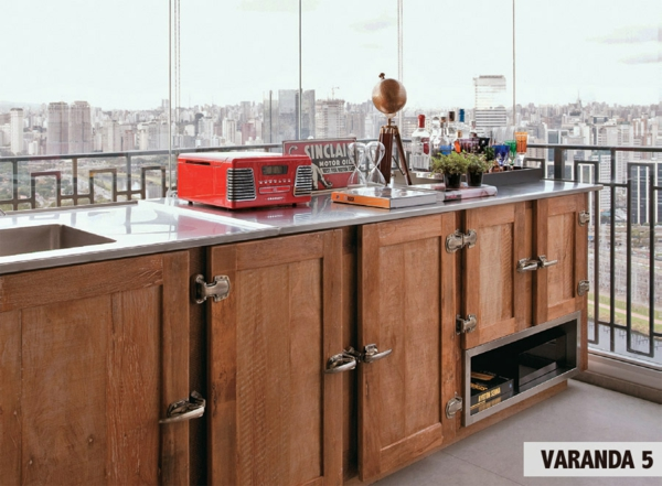 verglaste terrasse gestalten terrasséngestaltung ideen küche arbeitsplatte unterschränke holz