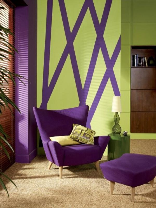 violette möbel wandgestaltung grün violett