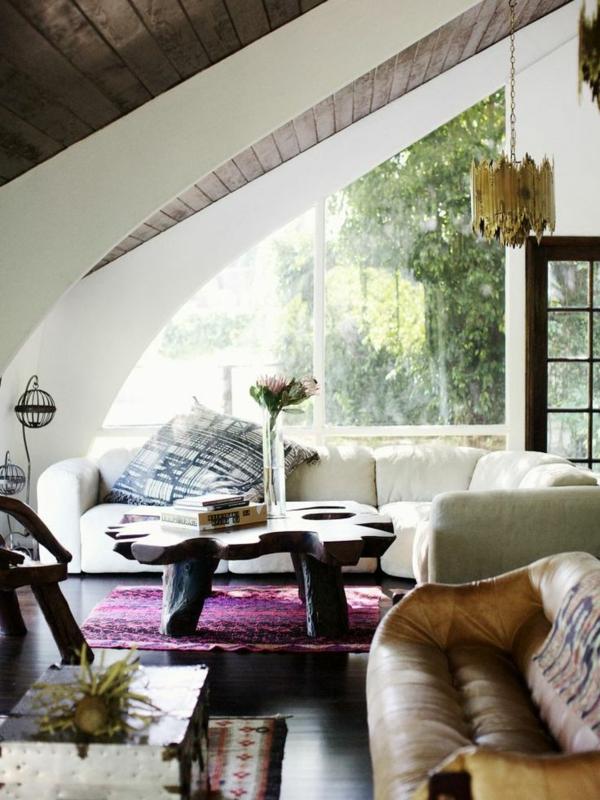 violetter akzent wohnzimmer interieur