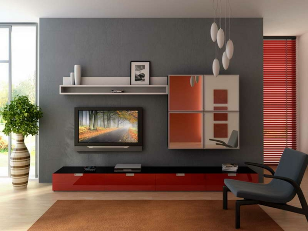 wandgestaltung wohnzimmer grau rot | ziakia ? timeschool.info - Wohnzimmer Wandfarbe Rot