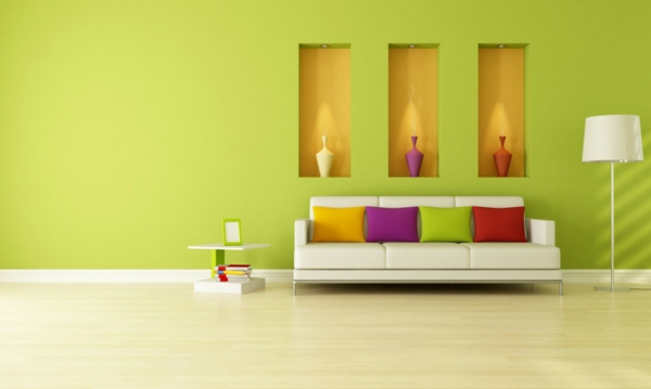 wandfarben wohnzimmer hellgrün wandgestaltung ideen farbideen