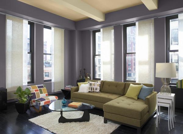 Wandfarben Wohnzimmer Lila Violett Trendfarbe 2014 Einrichtungsideen