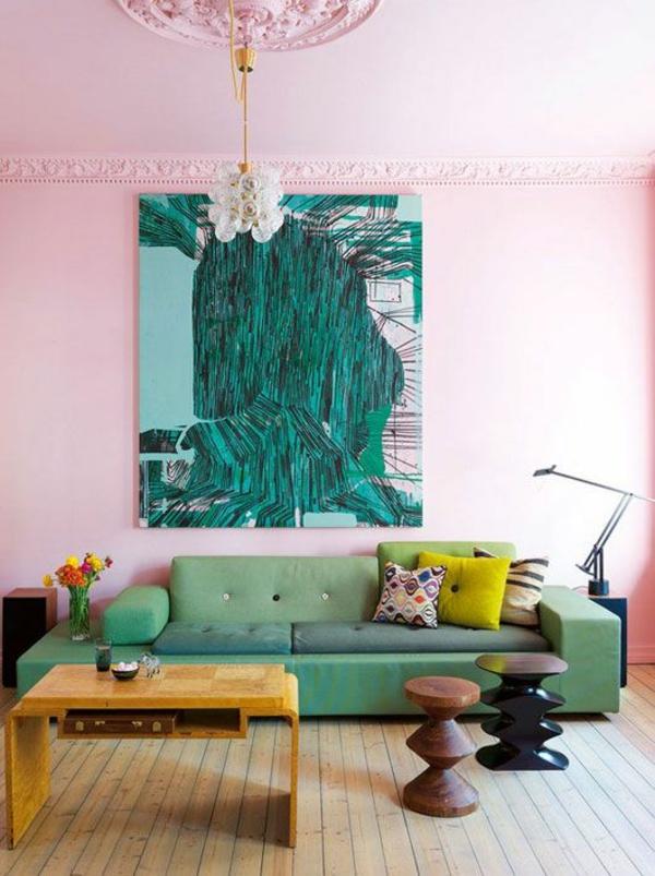 wandfarben wohnzimmer rosa grün gewagte farbgestaltung