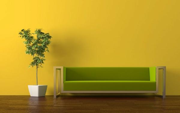 wandfarben wohnzimmer warme farbgestaltung gelb wohnzimmer sofa grün