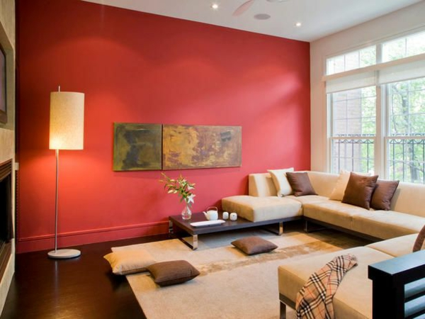 Wandfarben Wohnzimmer Warme Farbgestaltung Rot Akzentwand
